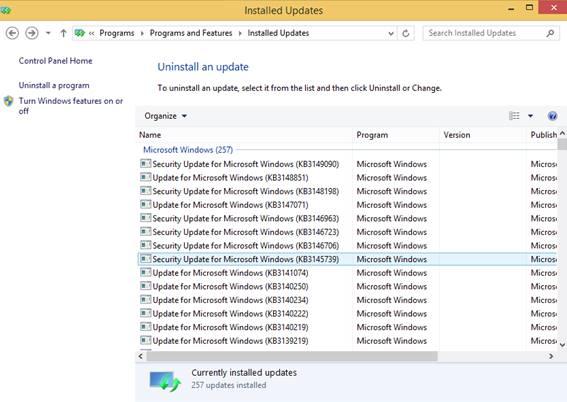 installed update